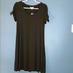 NWT Style & Co Olive Green T-Shirt Dress Sz XS